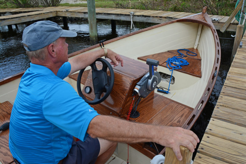 James made some slight modifications the the console, but kept the location as it was in the original, with the helmsman's weight close to amidships for optimum trim.