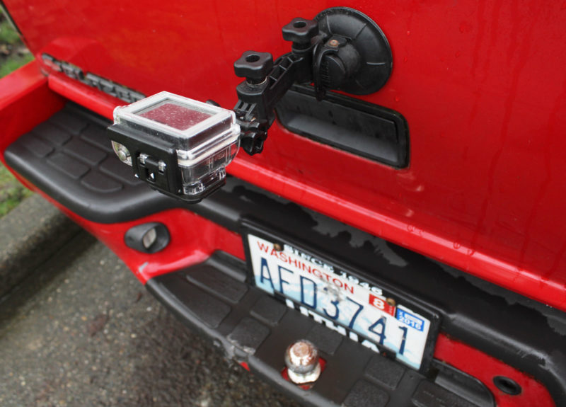 My GoPro with a suction-cup mount on the tailgate