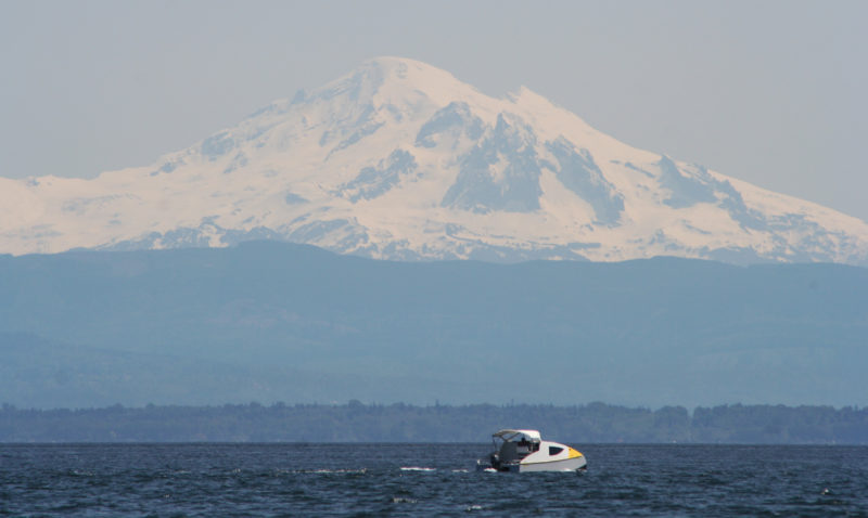 The EcoCat is quite at home in the broad reaches of Puget Sound that lie in the shadow of Mount Baker.