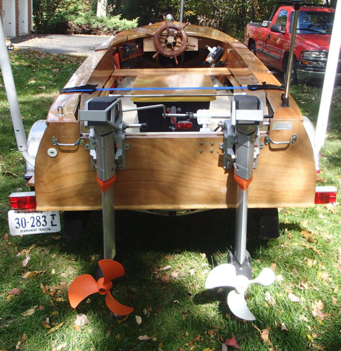 The boat that Charles Mower designed in 1926 was intended for a single 6-hp gas outboard. The twin Torqeedos, each rated as the equivalent of an 8-hp gas outboard, gave Ned's boat an additional 10 hp.