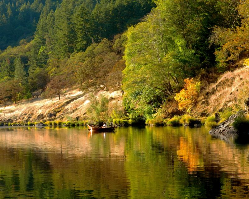 One of the best parts about running the Rogue in autumn is the vibrant color along the hills lining the river. In between rapids, stretches of calm water like this one just above the Battle Bar camp site provided good opportunities for fishing.