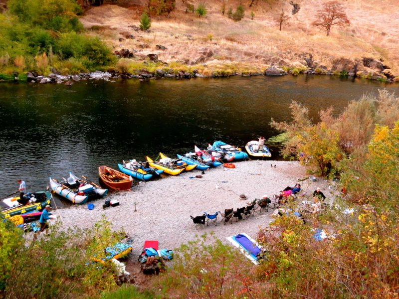 One of the best sights on any river trip are the colorful boats pulled into camp each night after a hard day of rowing. Our campsite at Battle on the second night of the trip provided a bird's-eye view of the boats and camp from the bluff above the river.