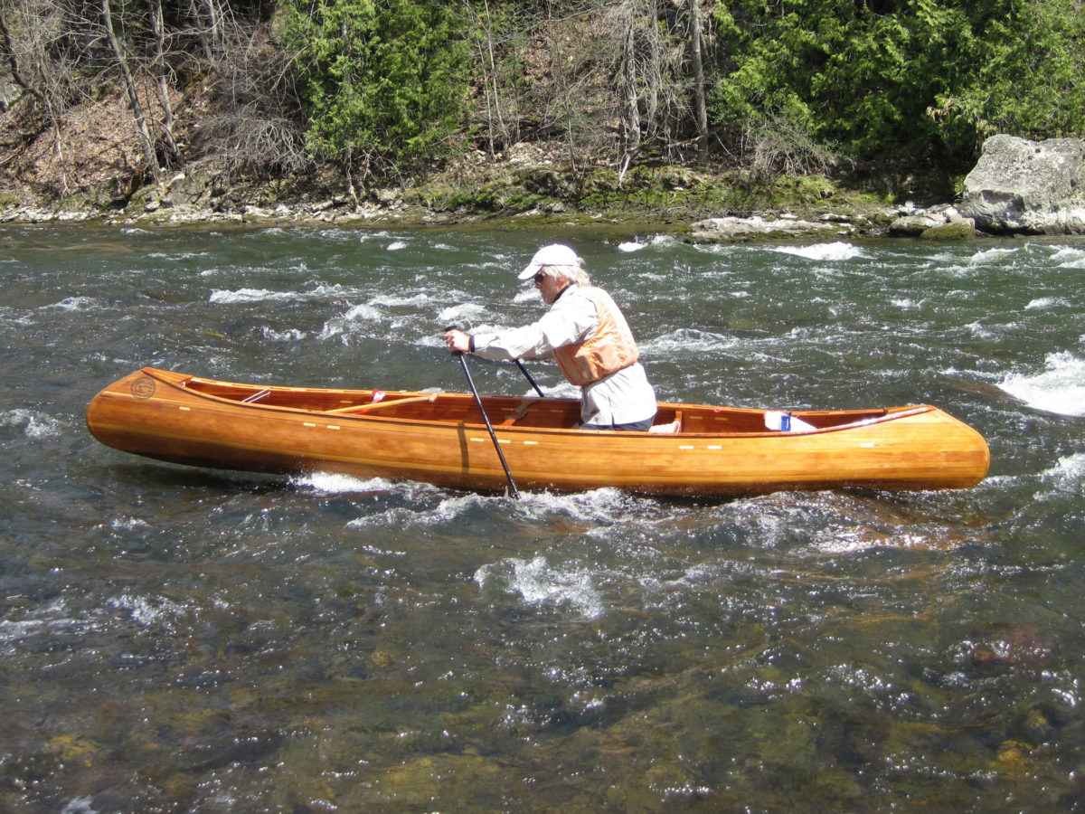 Stout ski poles offer a way to move upstream in the shallows while kneeling rather than standing in a canoe.