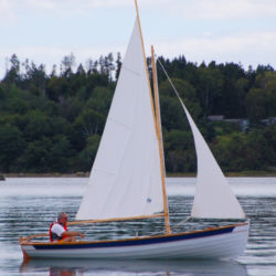 The gunter sloop rig sports 132 sq ft of sail. The alternate ketch and schooner rigs carry 118 and 139 sq ft, respectively.