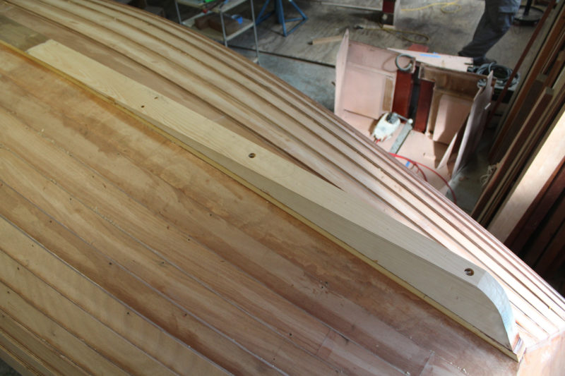 "Eric's ""beach skeg"" is shaped from a timber wide enough to cover the keel. The extra width gives it a very solid attachment to the keel and helps the boat ""ski"" over cobble without digging in. A 1/2"" thick shoe will cover the skeg and keel."