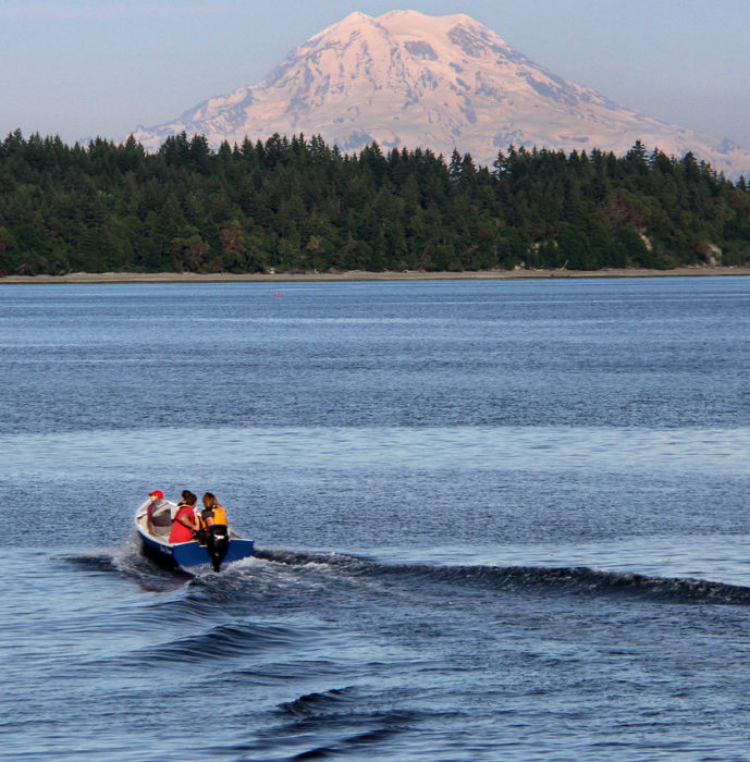 The Rowley's home waters provide views of Mt. Rainier, Washington's tallest mountain.