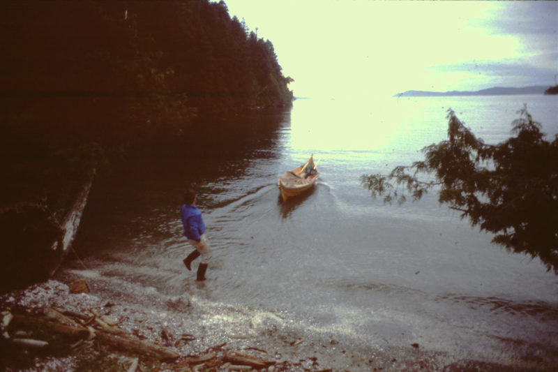 Ashore for the night on one of British Columbia's Gulf Islands, I gave the faering a hard shove to send it out to deeper water.