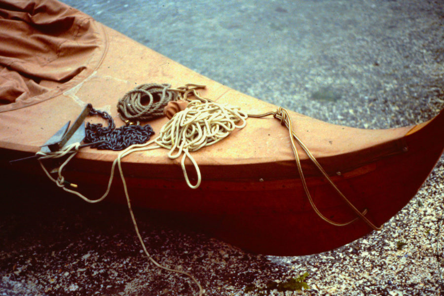 I used the Siwash system frequently with my Gokstad faering on a second cruise up the Inside Passage. The anchor is ready to drop over the side with the retrieval line secured to the stock and the chain, rode, and painter joined to the shank.