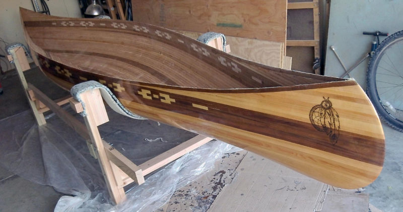 With the hull 'glassed, the canoe is ready for the gunwales, seats, and decks.