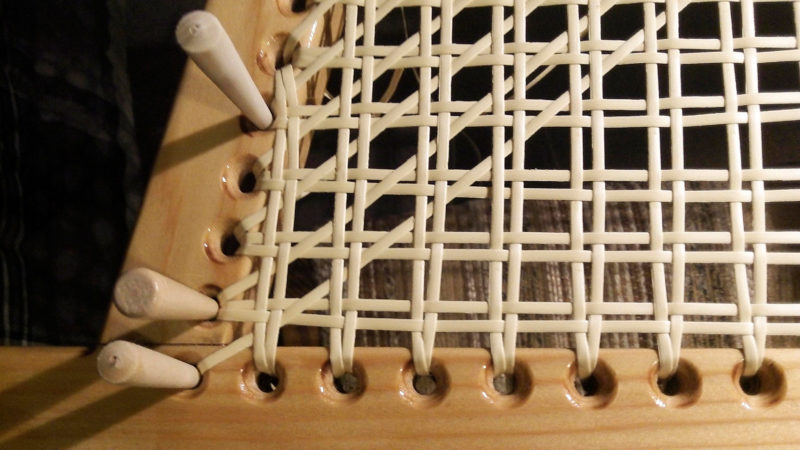 Rather than use pre-woven seat caning, Dave did the weaving himself, a job that takes time, patience, and focus.