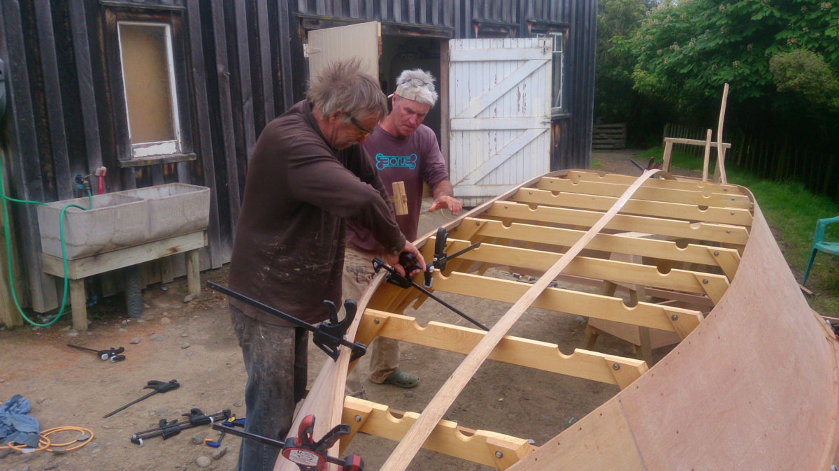 After steam bending and scarf-jointing a full length chine log, Andy and I finished the precise compound angle end-cuts to fit it tightly into the hull.