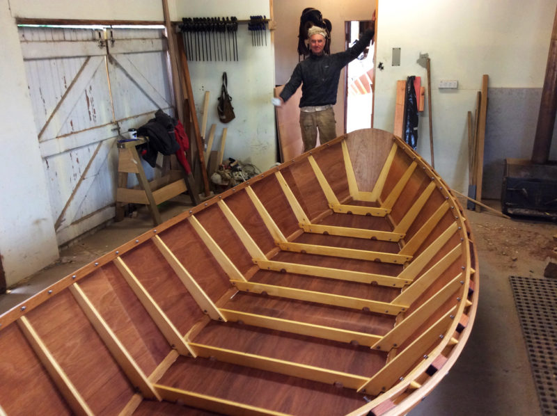 The sweet sweep of a Briggs boat's gunwales—and the relief of completing a hull--brought a gratified smile to Andy Hutchinson's face.