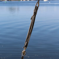 Dyneema rope, with spliced in stainless-steel thimbles and simple lashings, makes strong, do-it-yourself standing rigging.