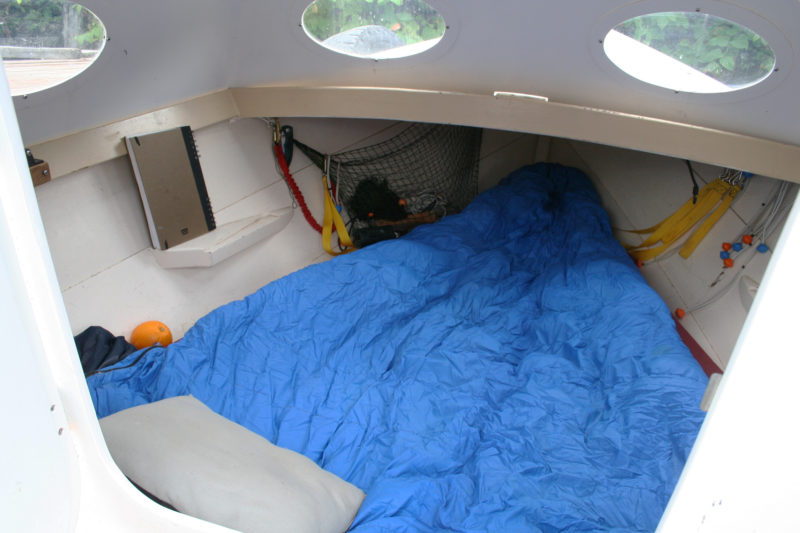 The forward compartment is compact but cozy and well sheltered from wind and rain.