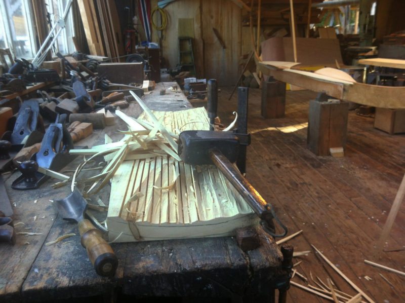 In Jay's shop in Anacortes, Washington, beginning the carved garboards for the geitbåt was a daunting task for members of the Friday Guild.