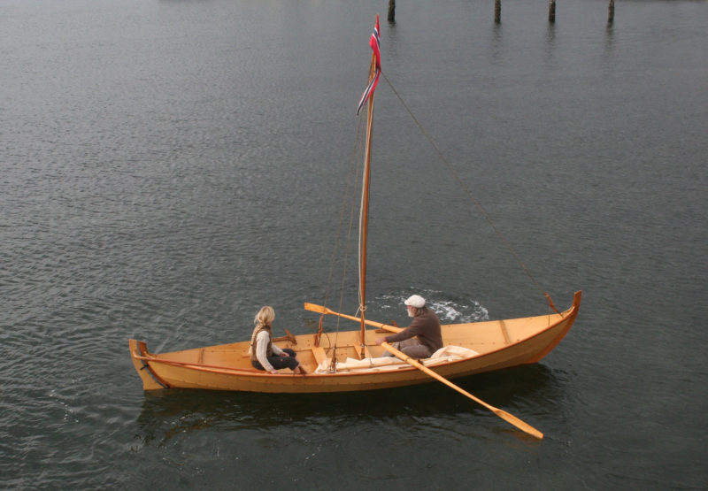 Leah and Jay take the TJÆLD for an early morning rowing tour at the Wooden Boat Festival in Port Townsend, WA.