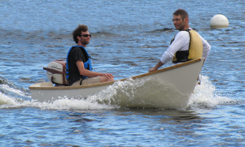 With the bow heavily loaded the Compass skiff curled up an impressive wake, but kept the occupants dry.