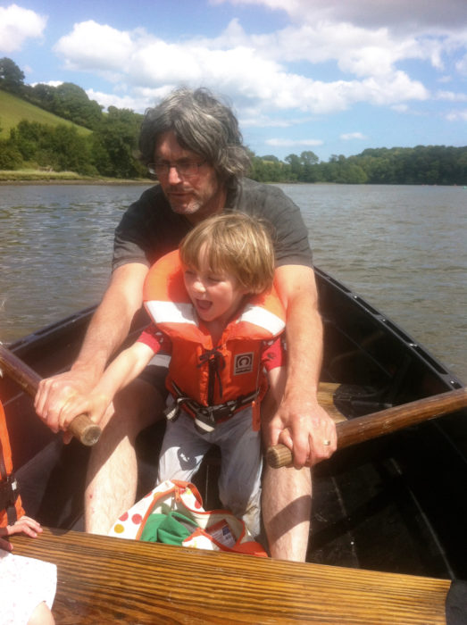 July 2015. As we were heading down the exquisite Bow Creek on the River Dart, just a mile or so away from our new home, I started teaching Sol to row. The skiff has been a perfect way for me to pass on my love of boating to my kids.