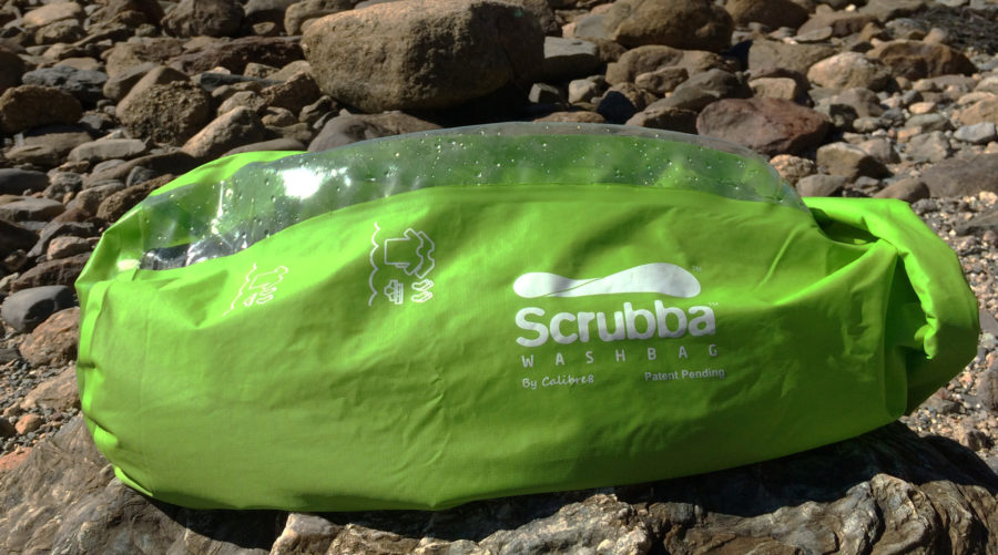 At the bottom of the Scrubba, the exterior surface of the washboard area is textured to keep the bag from slipping and to prevent wear.