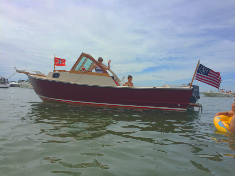 The Pilot 19 is designed with a pilothouse, but after Haynes bumped his head a few times on the frame that supported the roof, he decided to keep the cockpit open. The result has worked well for family outings.