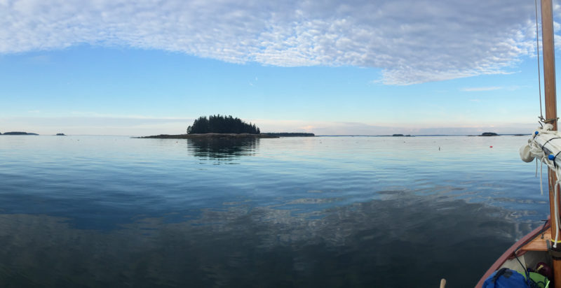For the long row north to Eagle Island, Penobscot Bay was glassy calm.