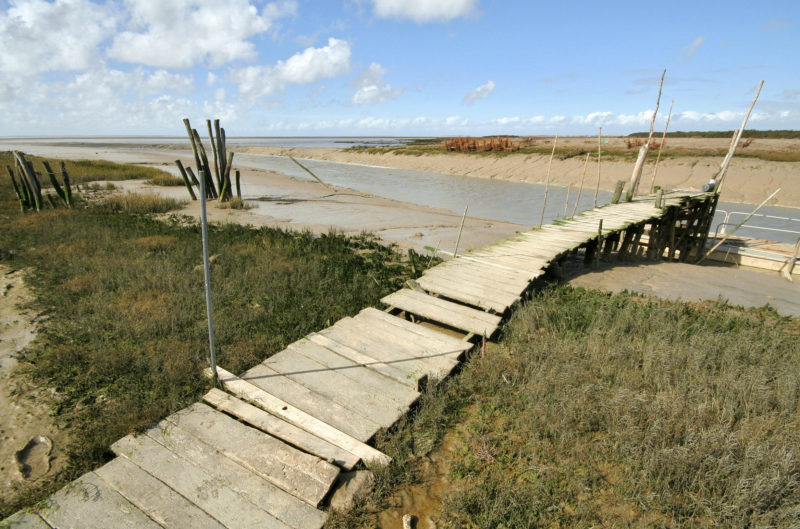 At low tide, the Brouage channel meanders for 2 1/2 miles from the mainland here to the waters of the Marennes-Oléron Basin.