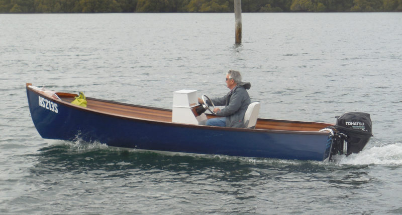 Although EMZARA didn't wind up with the concave bottom section that makes the Jericho Bay Lobster Skiff distinctive, she still gets up on a plane quickly. The hogged bottom is more of an advantage for a tiller-steered outboard where there is a lot of weight in the stern.