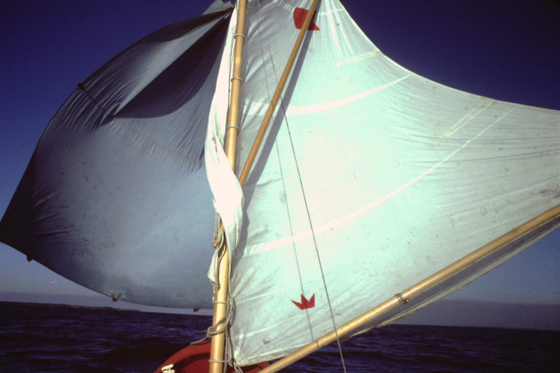For a long downwind run aboard my sneakbox I set my tarp as a spinnaker.