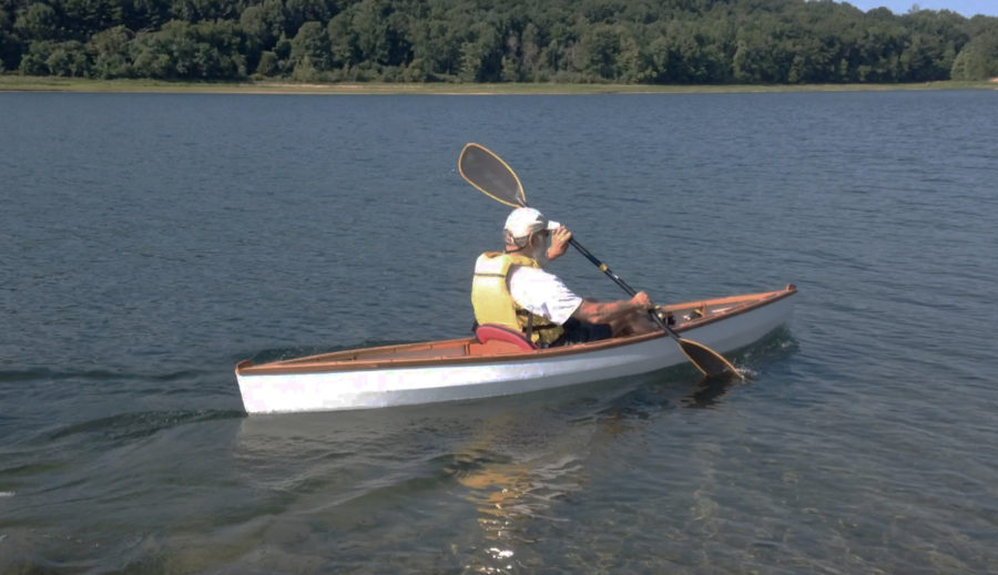 A double-bladed paddle, the type used for sea kayaks, is the best choice for general paddling in the Wee Lassie. It offers better course holding than a single-bladed paddle.