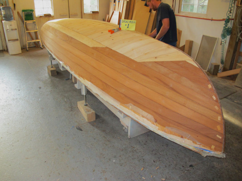 This hull will be finished bright above the waterline and has an outer layer of mahogany planking to cover the topsides.