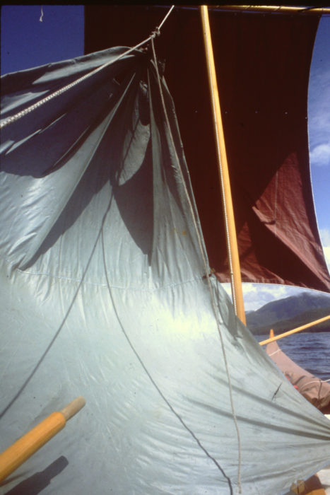The tarp came in handy aboard my Gokstad faering as an addition to its square sail.