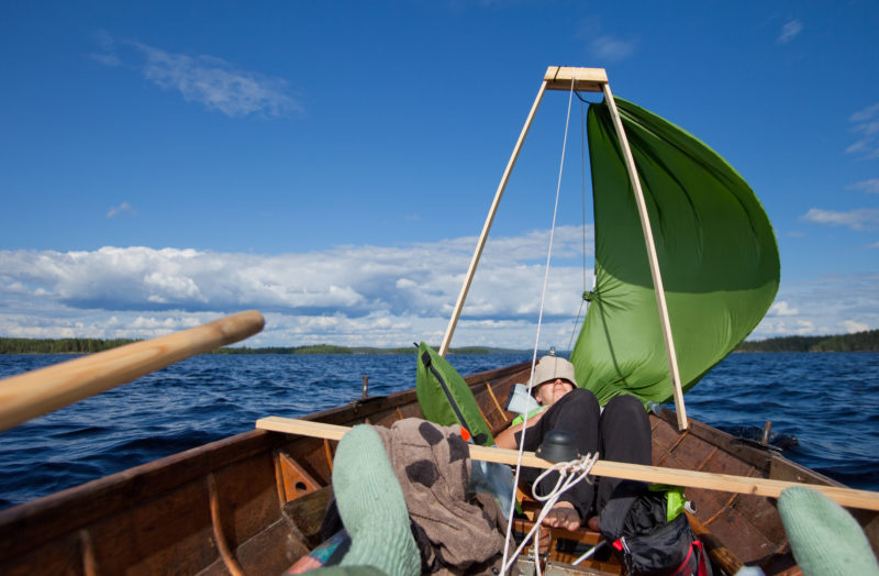 Sailing was a welcome break for rowing and kept TURBO moving while the crew relaxed. The A-frame mast didn't interfere with the forward rowing station and it took just seconds to raise or lower the sail.