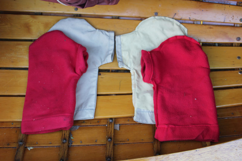 A two-layer pogie with a Gore-Tex shell and a fleece liner. The set on the right is inverted to show sewing details. The editor used these pogies during a November-to-January rowing trip from Pittsburg, Pennsylvania, to Cedar Key, Florida.