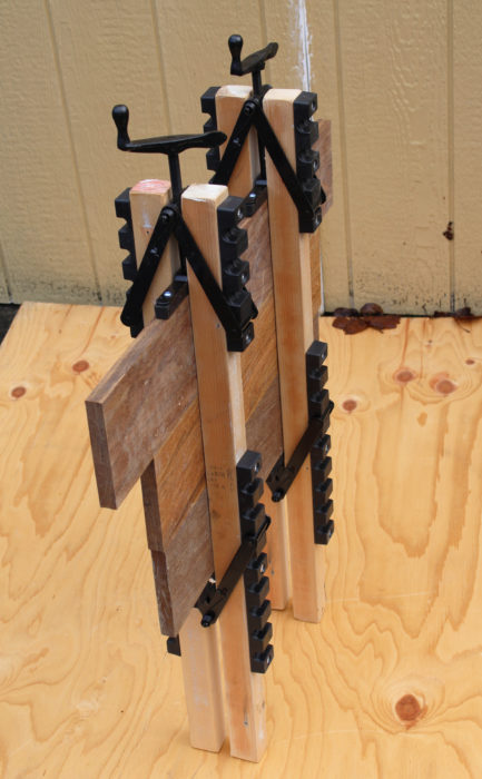 The system provide the work with legs to stand on so it can be moved out of the way while the glue cures. Unlike bar clamps and pipe clamps, these clamps can't be accidentally knocked off.