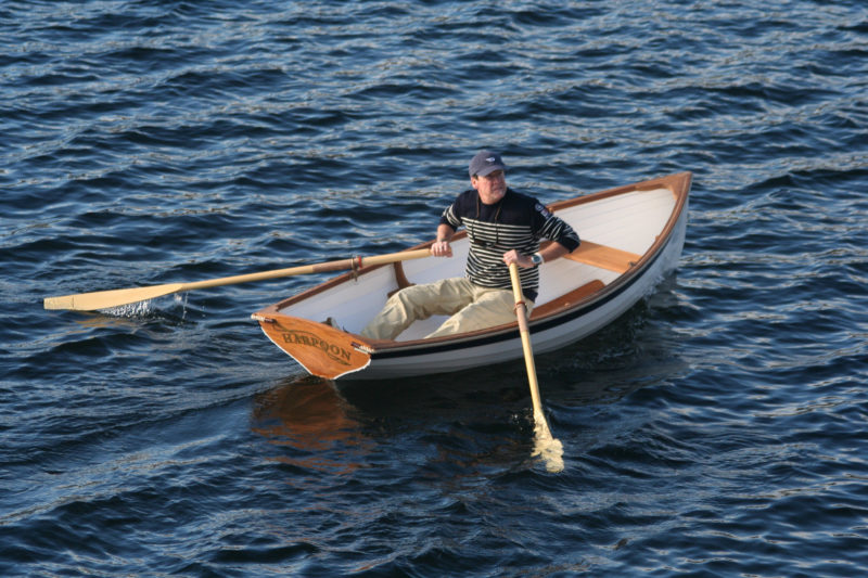 The Tadpole will easily maintain 3 3/4 knots without much effort at the oars. It tracks well and is very maneuverable.