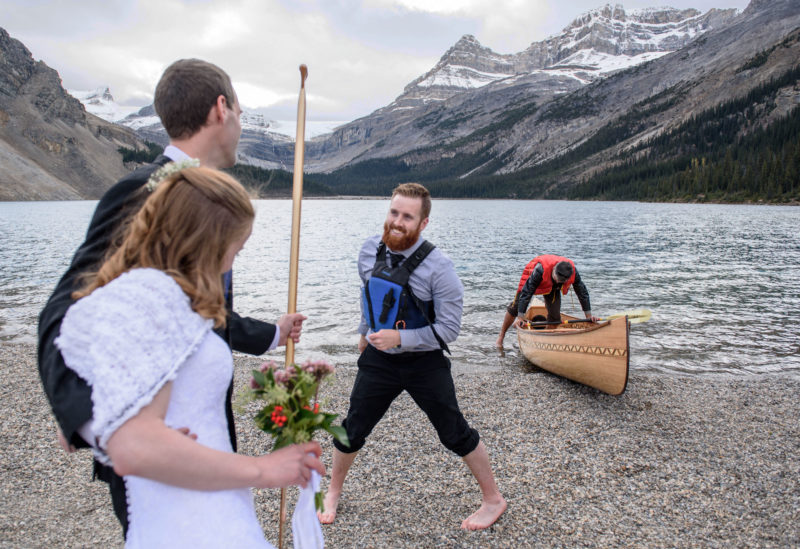 When I tossed the paddle to Mike he had no idea that the canoe was a wedding present and didn't believe it when I told the couple it was theirs.