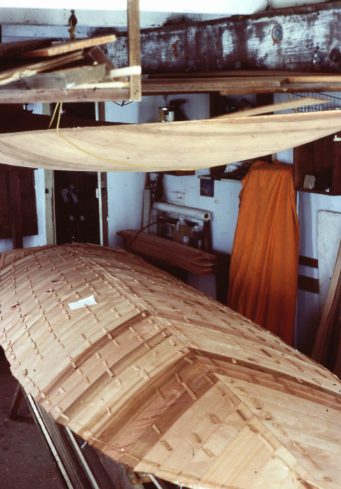 The hull and deck of the sneakbox were made entirely of red cedar from the log I'd salvaged on the beach.