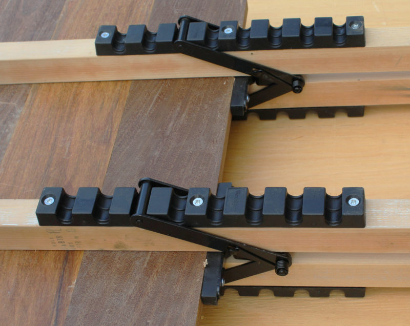 """The long notched bars provide for about 12"""" of adjustment on the tail end of the 2x2s."""