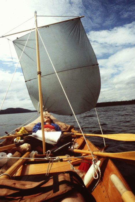 Finishing the square sail would wait until we got to Nanaimo. A nylon tarp that I'd sewn 16 years earlier for backpacking served as a stand-in for the square sail. The square sail's yard was pressed into service as a mast and I used the push-pull tiller as the y