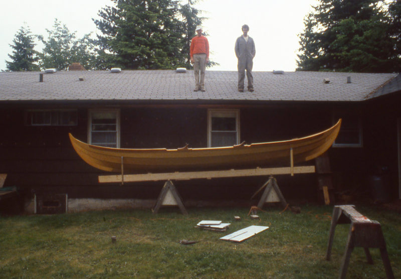 When I finally got the faering our of the shed, my father and I admired the Viking form from every angle.