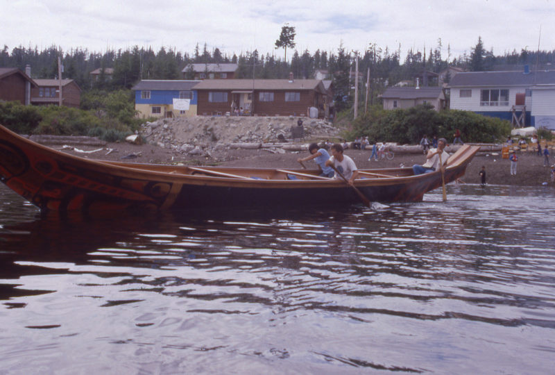When the welcoming ceremonies were over, I got a chance to paddle LOOTAAS. There were just three of us aboard and we were going stern first, but it was an honor to be aboard.