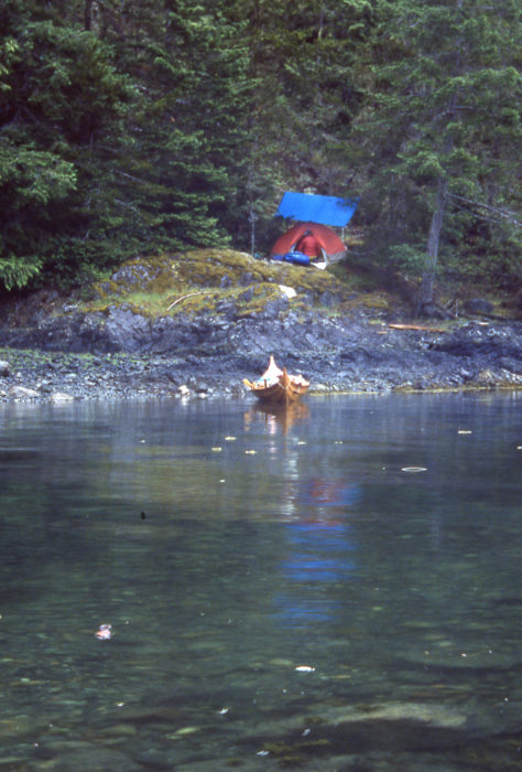 Our camp on Helmcken island was a bit damp, but there was a quite cove for ROWENA and and soft mossy perch for our tent.