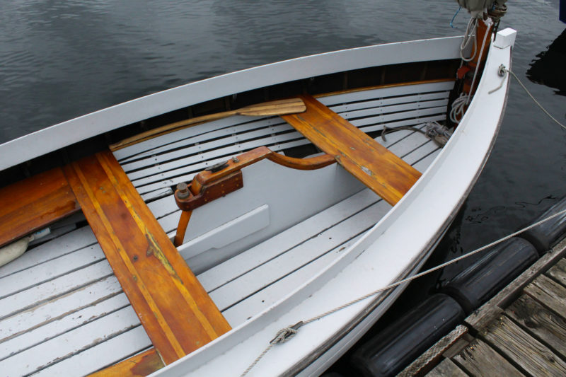 E. E. Swift built the centerboard trunk in the original boat with an open slot at the top. Enclosing the board keeps DEWEY's interior drier in rough water.