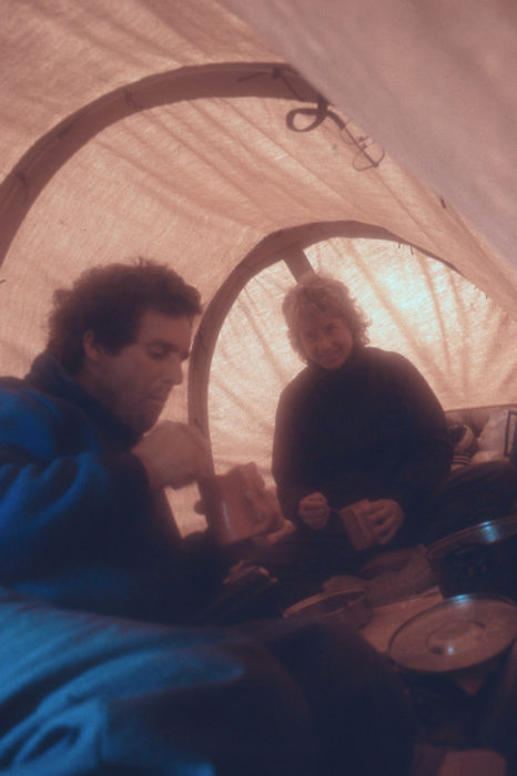 "The canopy was a simple affair and a bit saggy, but it made a great refuge. We could get away from rain, cold, and bugs. We often set the stove just outside the flaps that closed off the aft end, and had our meals ""indoors."""