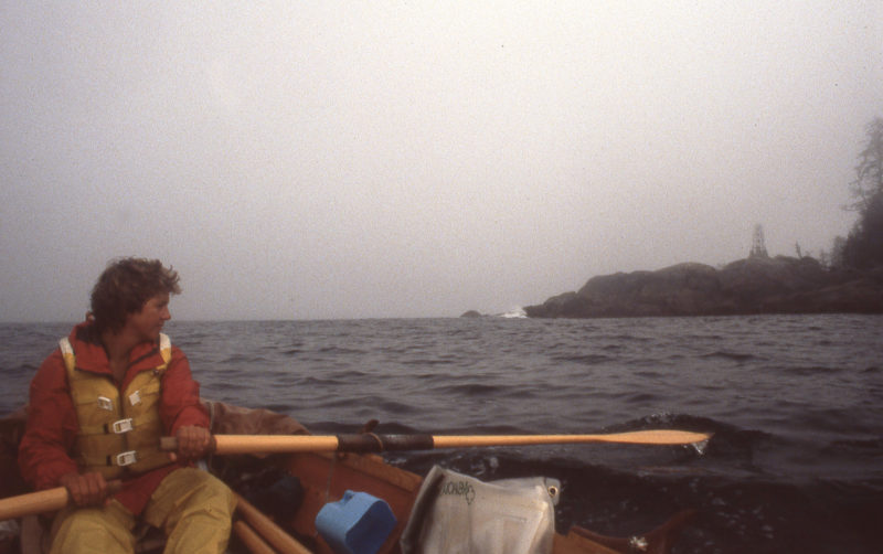 We had good conditions for a quick rounding of Cape Caution and raced around the light, seen here, to get back into more protected waters.