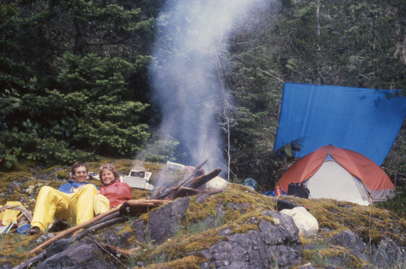 Our campfire on Helmcken gave us a chance to warm up and dry out rain-dampened clothes. We didn't bother chopping up the mostly red cedar driftwood; we just fed the ends into the fire as they were consumed.
