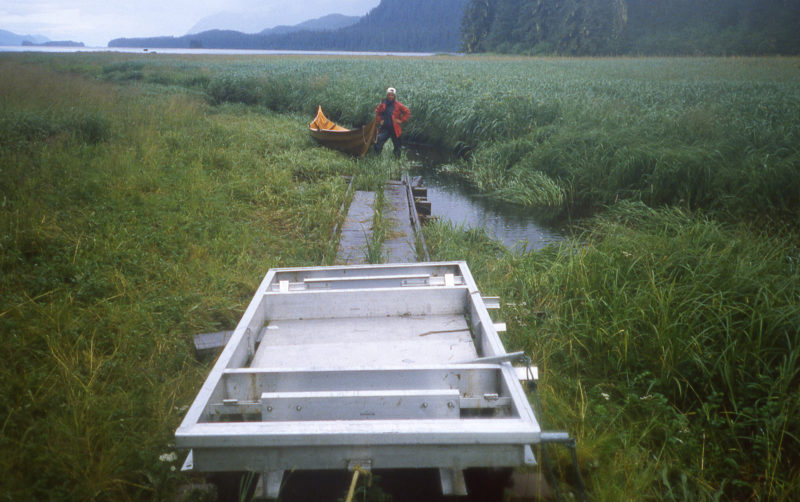 After the long haul up the shallow creek bed we had to lift he faering onto the rail cart.