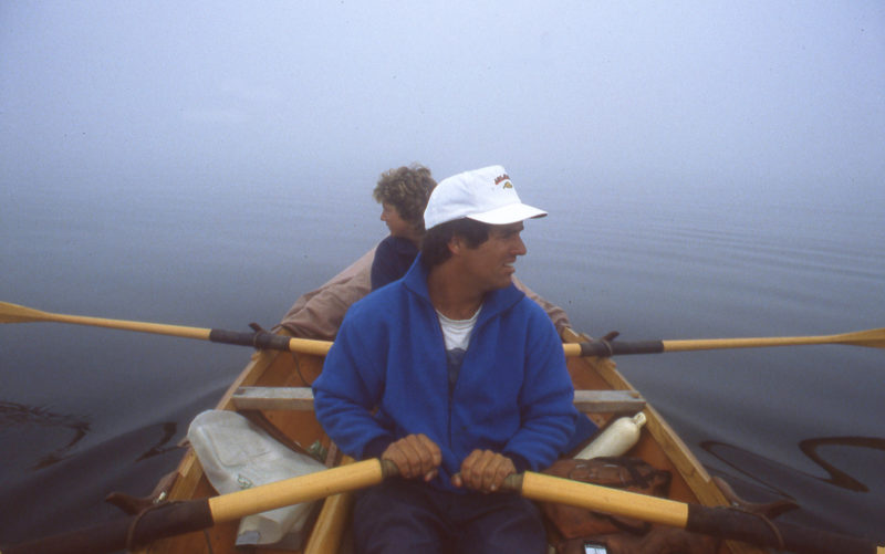 Crossing Farragut Bay in the fog kept us on alert listing for fishing boats and looking for land.