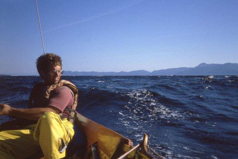 After leaving Ketchikan, we sailed north along Clarence Strait, a 4-mile wide passage between the mainland and Prince of Wales Island. While I'd made the traditional side-hung rudder for the faering, It was easier to steer with an oar. The rudder tended to loosen the ropes that held it in place and the transverse tiller, which would be behind me, was awkward to hold.