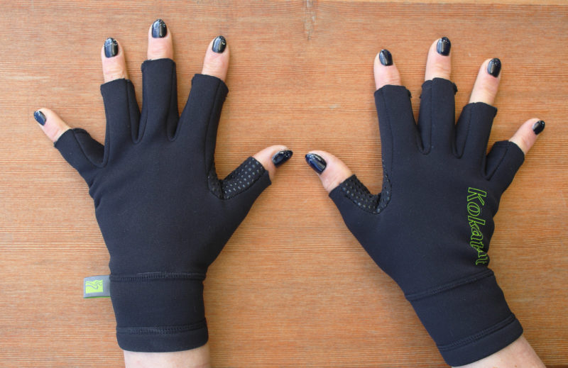 Freya favors glove that leave her fingertips free for operating electronics and tending to to the many chores that come up while paddling. She reports that these gloves are warmer than gloves that completely cover hire fingertips. The fingernail polish is more practical than decorative. It reinforces her fingernails and makes them less prone to breaking.